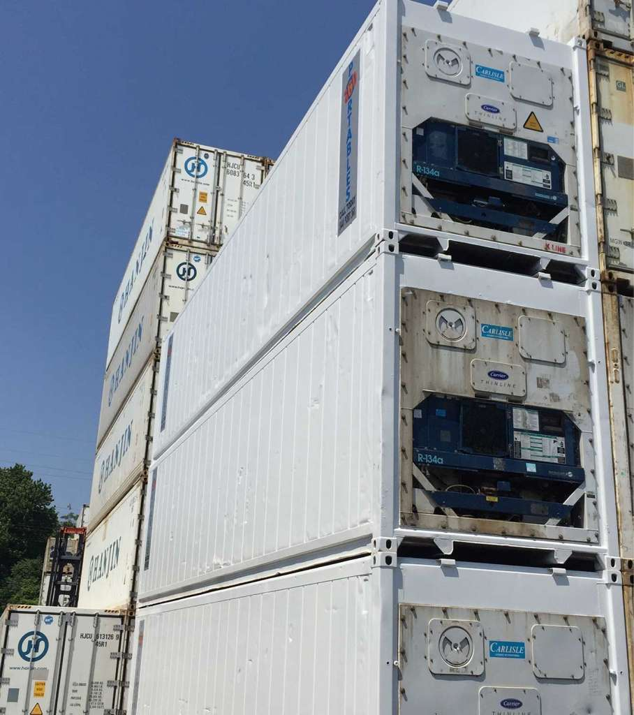 box trailer storage containers with reefers stacked up