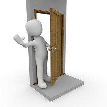 entering an open door into a shipping container home