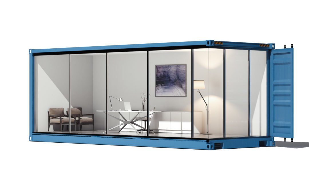 office inside a glass shipping container