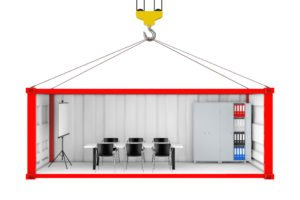 interior showing classroom in shipping container